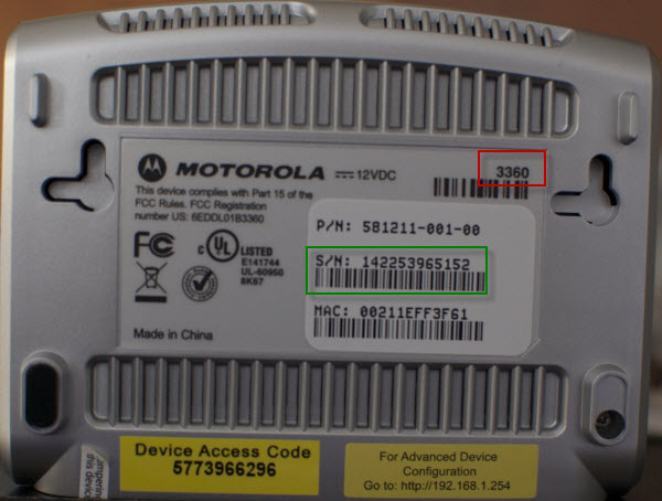 model number and serial number