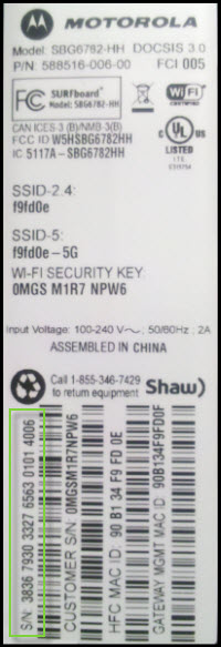 General FAQs: SBG6782 (v8 4 x): Locating the Serial Number