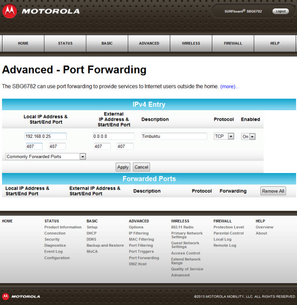 General FAQs: SBG6782 (v8 4 x): Port Forwarding Setup