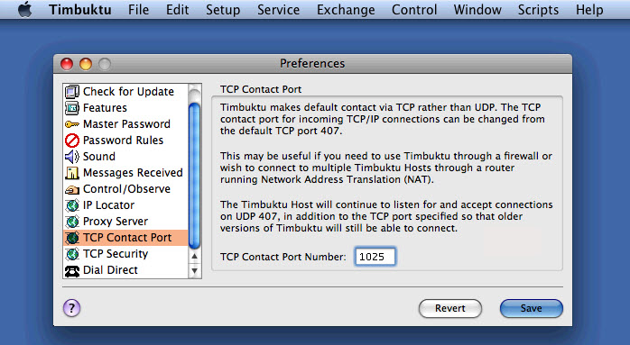 General FAQs: Changing TCP Contact Port on Timbuktu Pro for Macintosh