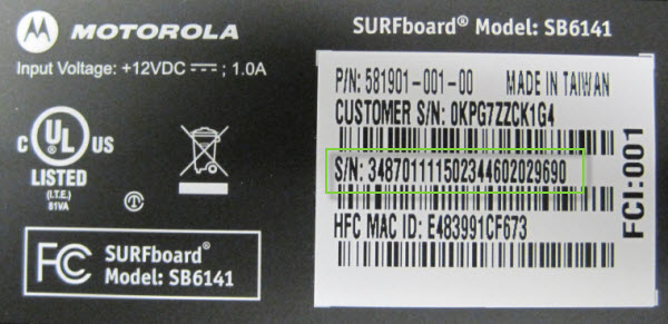 General FAQs: SB6141: Locating the Serial Number