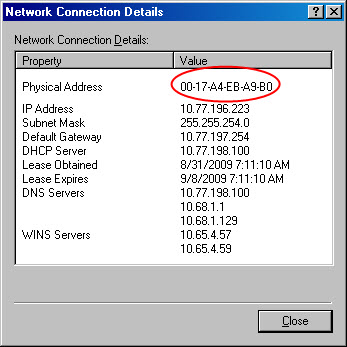 General FAQs: Windows and MAC OS X: Finding the MAC address