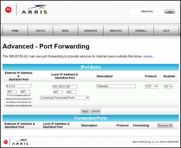 General FAQs: SBG6700-AC (v8 6 x): Port Forwarding Setup