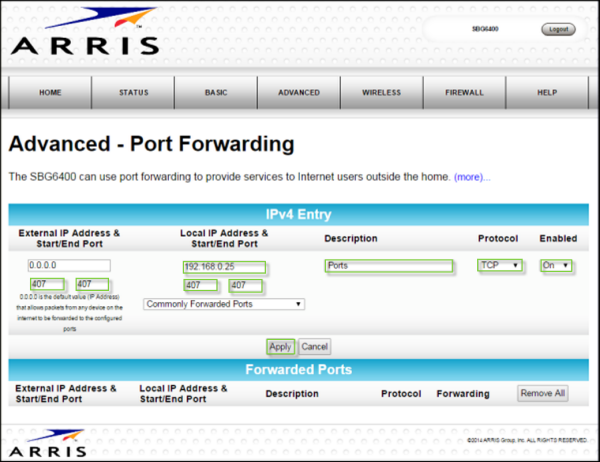 General FAQs: SBG6400 (v1 3 x): Port Forwarding Setup