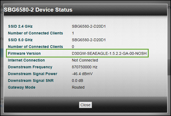 General FAQs: SBG6580-2: Locating the Firmware Version